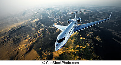 Realistic photo of silver generic design private jet flying...