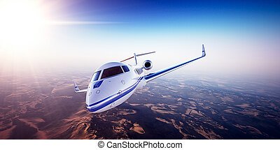 Realistic photo of White Luxury generic design private jet...