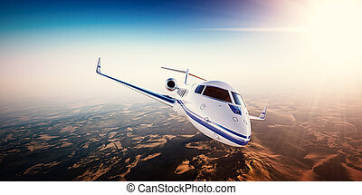 Realistic photo of white generic design private Jet flying...