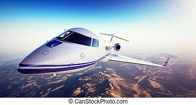 Realistic image of White generic design private jet flying...