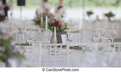 Festive table in restaurant served - Preparation for wedding...