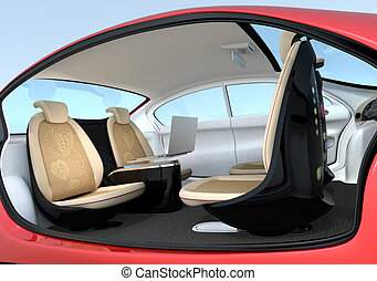 Self-driving car interior concept. Front seats could turn...