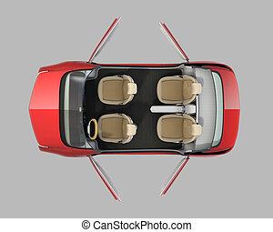 self-driving car cutaway image - Top view of self-driving...