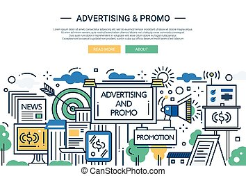 Advertising and Promo - line design website banner -...