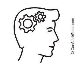 Vector illustration, gears in head icon, thinking process