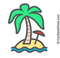Beach with Palm and Umbrella. Summer Vacation Background vector icon