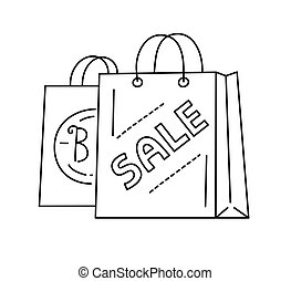 Sale shopping bags, line style vector illustration