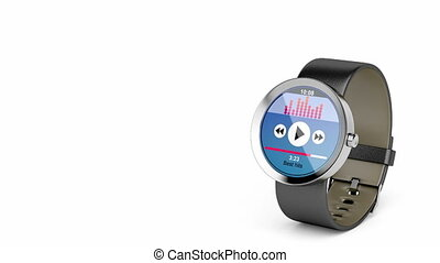 Round smart watch with many apps on white background