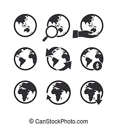 Globe icons set. Elements of this image furnished by NASA