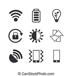 Mobile phone icons set on white background