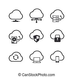 Cloud Computer icons set.