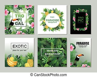 Tropical printable cards collection with palm leaves,...