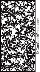 Rectangular lattice pattern floral background. Silhouette...