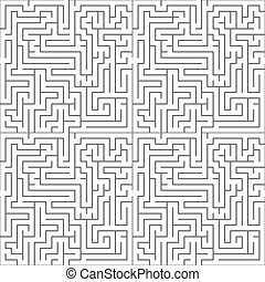 Black maze on white, seamless pattern - Black complicated...