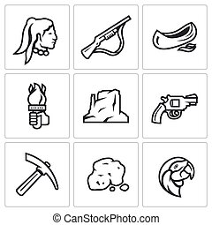 Vector Set of Redskin Icons Red man, Shotgun, Canoe, Torch,...