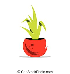 Vector Houseplant Cartoon Illustration - Potted plant...