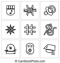 Vector Set of Prison Icons. Prisoner, Isolation,...