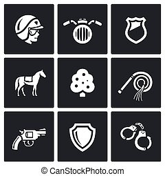 Vector Set of Street Police Icons - Cop, Motorcycle, Badge,...