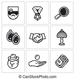 Vector Set of Pawnshop Icons. Appraiser, Jewel, Cost...