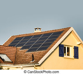 solar panels - solar or photovoltaic panels on a roof