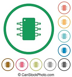 Integrated circuit outlined flat icons - Set of Integrated...