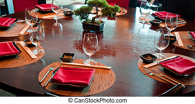 Place Settings at a Japanese Restaurant - Place Settings at...