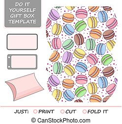 Favor, gift box die cut. Box template with macaron pattern....