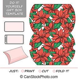 Favor, gift box die cut. Box template with poinsettia...