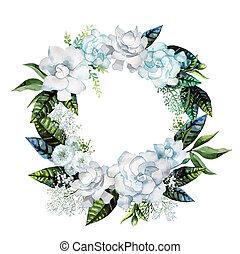 Watercolor gardenia and gypsophila wreath. Floral wedding...