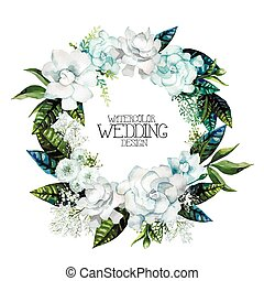 Watercolor gardenia and gypsophila wreath. Floral vector...