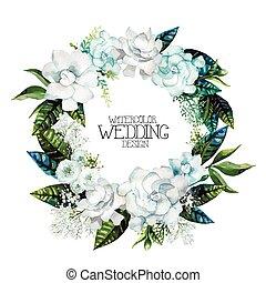 Watercolor gardenia and gypsophila wreath. Floral vector...