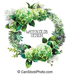 Green watercolor hydrangea wreath isolated on white...