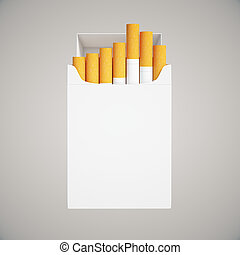 Cigarette pack on light - Open white cigarette pack on light...