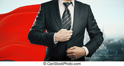 Businessman with superhero cape - Businessman with red...
