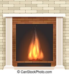 Classic fireplace vector icon. - Classic fireplace icon....
