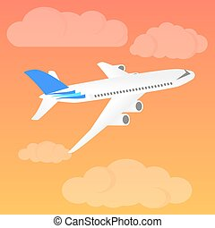 Airplane landing at sunset. Flight of the plane in the sky. Passenger planes, airplane, aircraft, flight, clouds, sky. Vector illustration