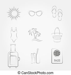 Summer travel and vacation icons set - Simple line web icons...