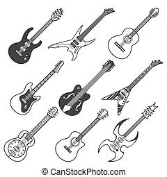 Black guitars vector silhouettes. Classic and bass guitars...