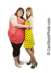 Two different girlfriends together over white background