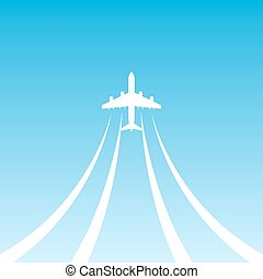 Plane Takeoff Blue icon - White airplane flying up in the...