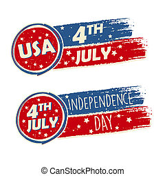 USA Independence Day and 4th of July with stars in drawing banners