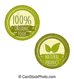 100 percent organic food and natural product with leaf signs in green labels