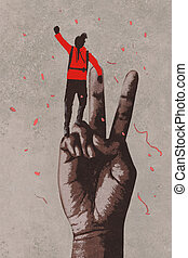 hand in victory sign - big hand in victory sign and man with...