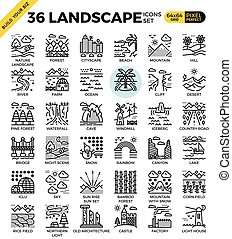 Nature landscape pixel perfect outline icons modern style...