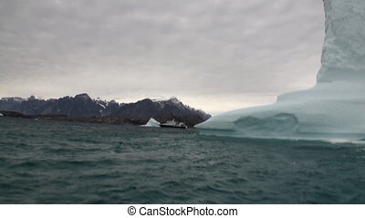 Big Iicebergs floating in sea around  Greenland.