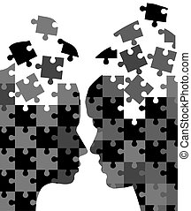 man and woman puzzles - vector man and woman puzzles