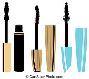 mascara - vector make up mascara set