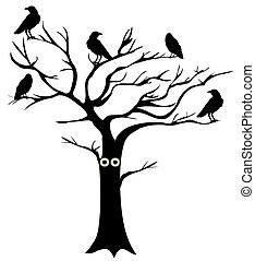 tree crows - vector tree with eyes and crows