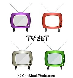 Retro TV Set Icon. Vintage TV set. Vector illustration
