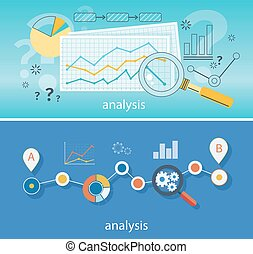 Magnifying Glass Data Analysis - Banner with focused...